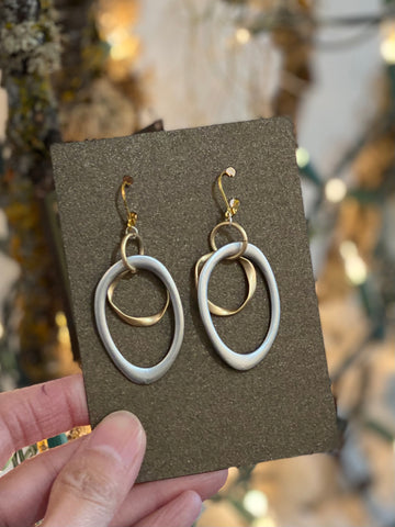Two Tone Double Hand Wired Hoop Earrings Made in PDX