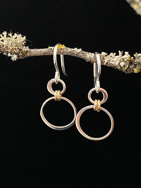 Two Tone Circle Hoops Drop Earrings Made in PDX