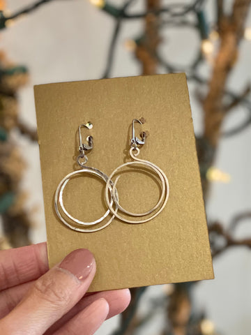 Hand Wired Circle Hoop Silver Earrings Made in PDX