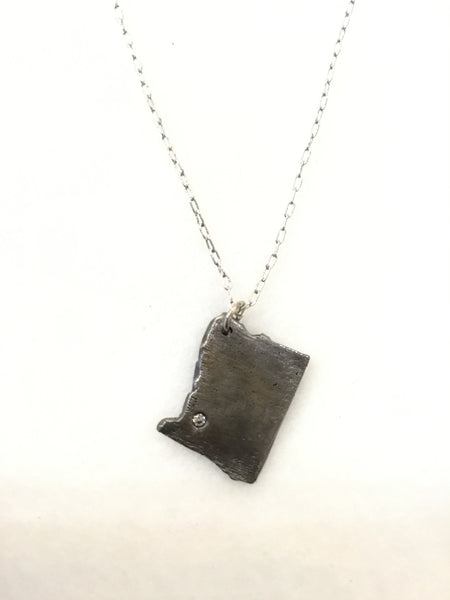 Hand Cast Stainless Steel Oregon State with Crystal Necklace