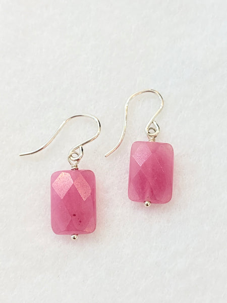 Pink Stone Drop Earrings Made in PDX