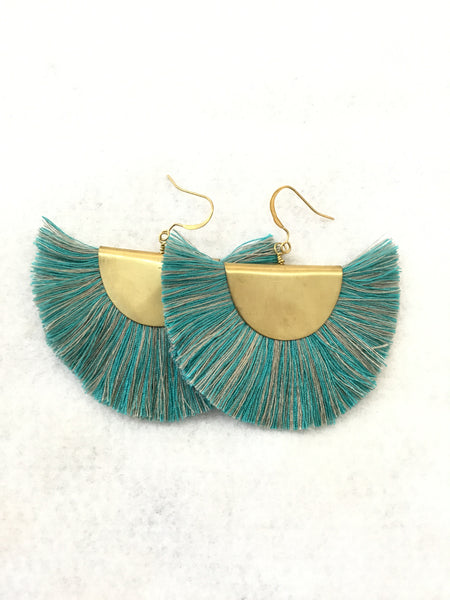 Large Fan Silk Thread Bohemian Earrings