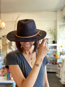 Black Suede Fedora Hat