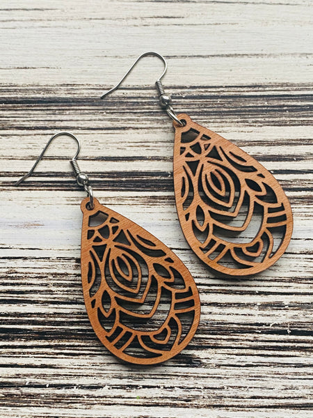 Beautiful Mandala Feather Raindrop Wooden Earrings Handmade In USA