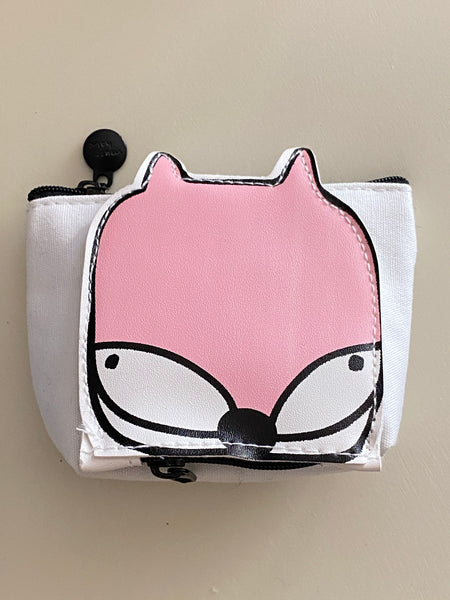 Cute Canvas Coin Purse With Vinyl Animal Attach Side Small Pocket