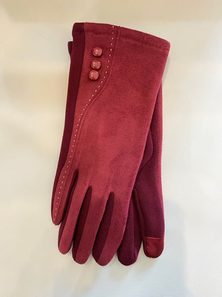 Texting Gloves Faux Suede with Buttons Accents
