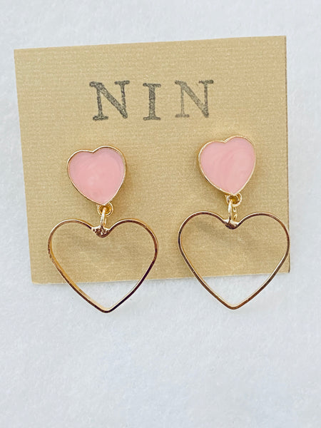 Enamel Heart Post with Open Heart Shape Dangle Earrings