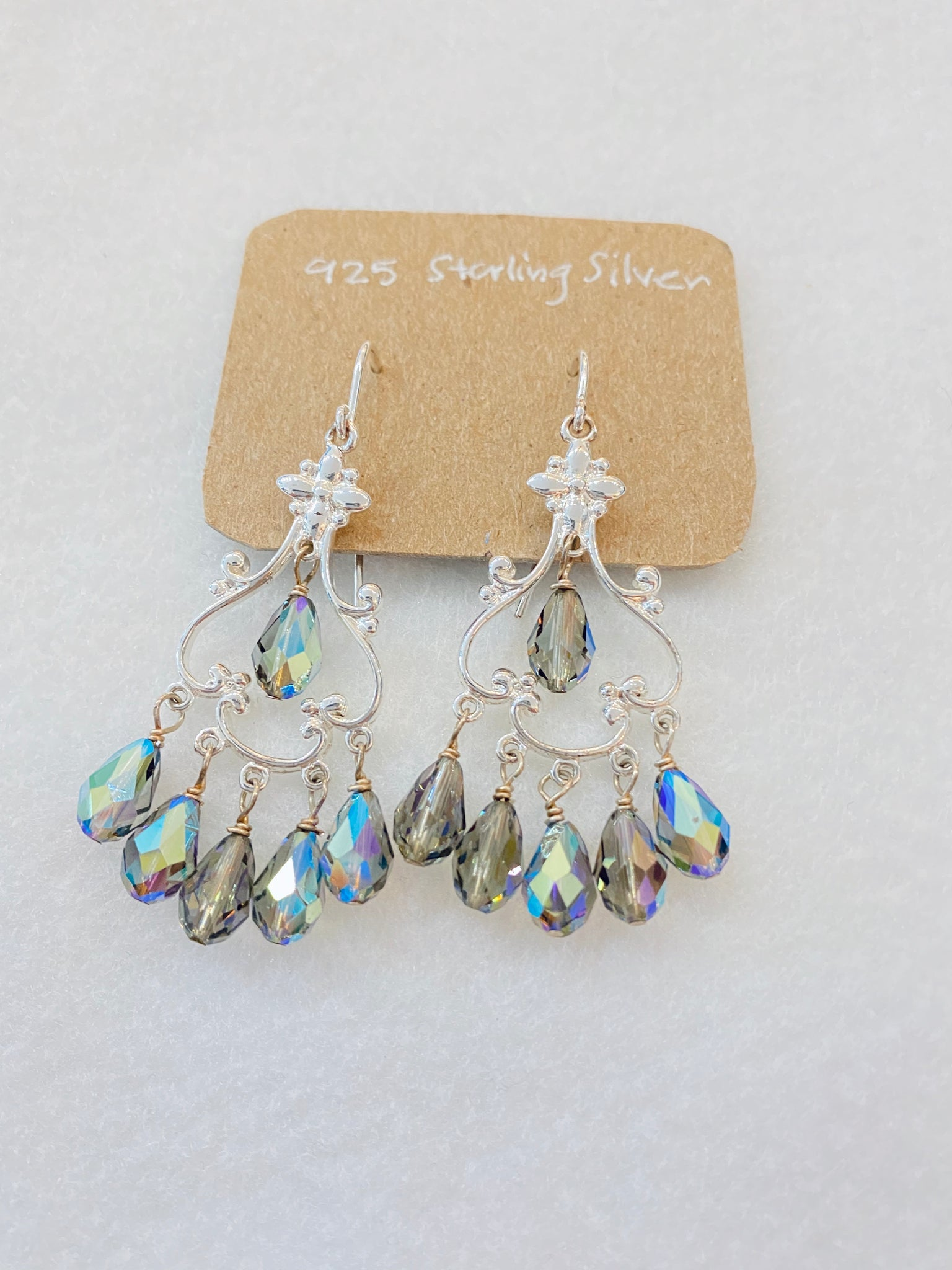 Crystal on Sterling Silver Chandelier Earrings