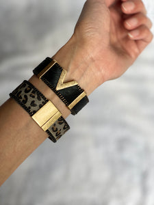 Cowhide handmade leather bracelet with a geometric rectangle element design