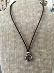 Brown Leather necklace with open circle pendant