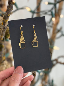 Hand Wired Gold Swirly Earrings Made in PDX