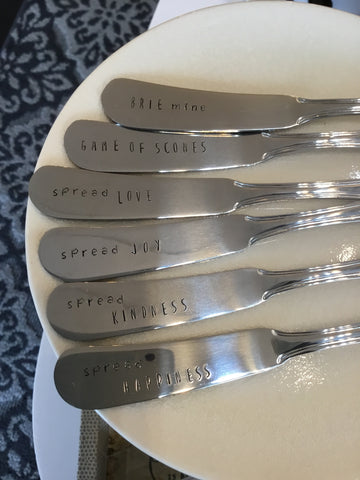 Hand Stamped Butter/ Cheese Spreaders
