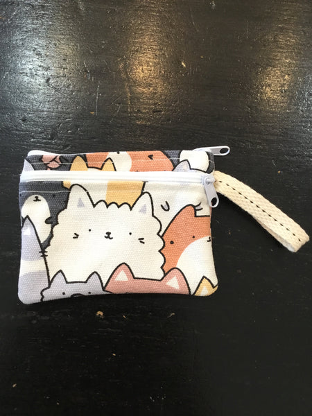 Handmade Coin Purse with Cute Print Double Pocket
