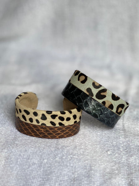 Modern cuff bracelet made with mix animal print design