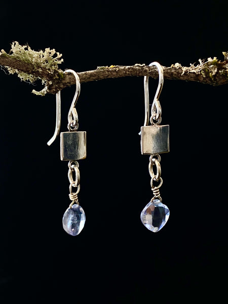 Silver Square Disc with Stone Drop Earrings  Made in PDX