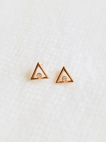 Triangle Stud Earrings with Diamond Accent