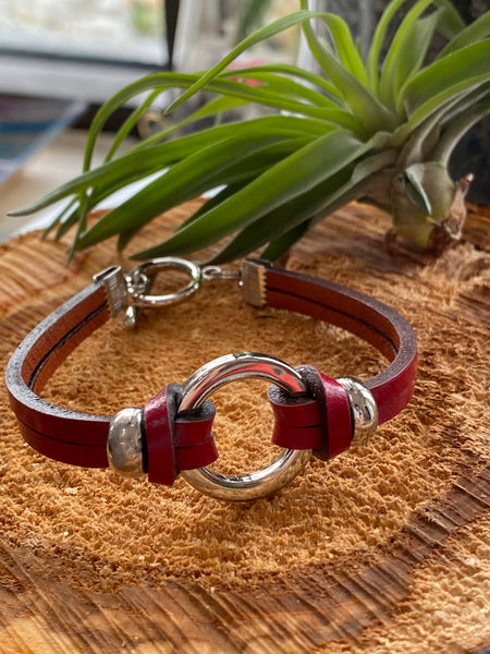 Modern Handmade Leather Bracelet with Stainless Steel Accents