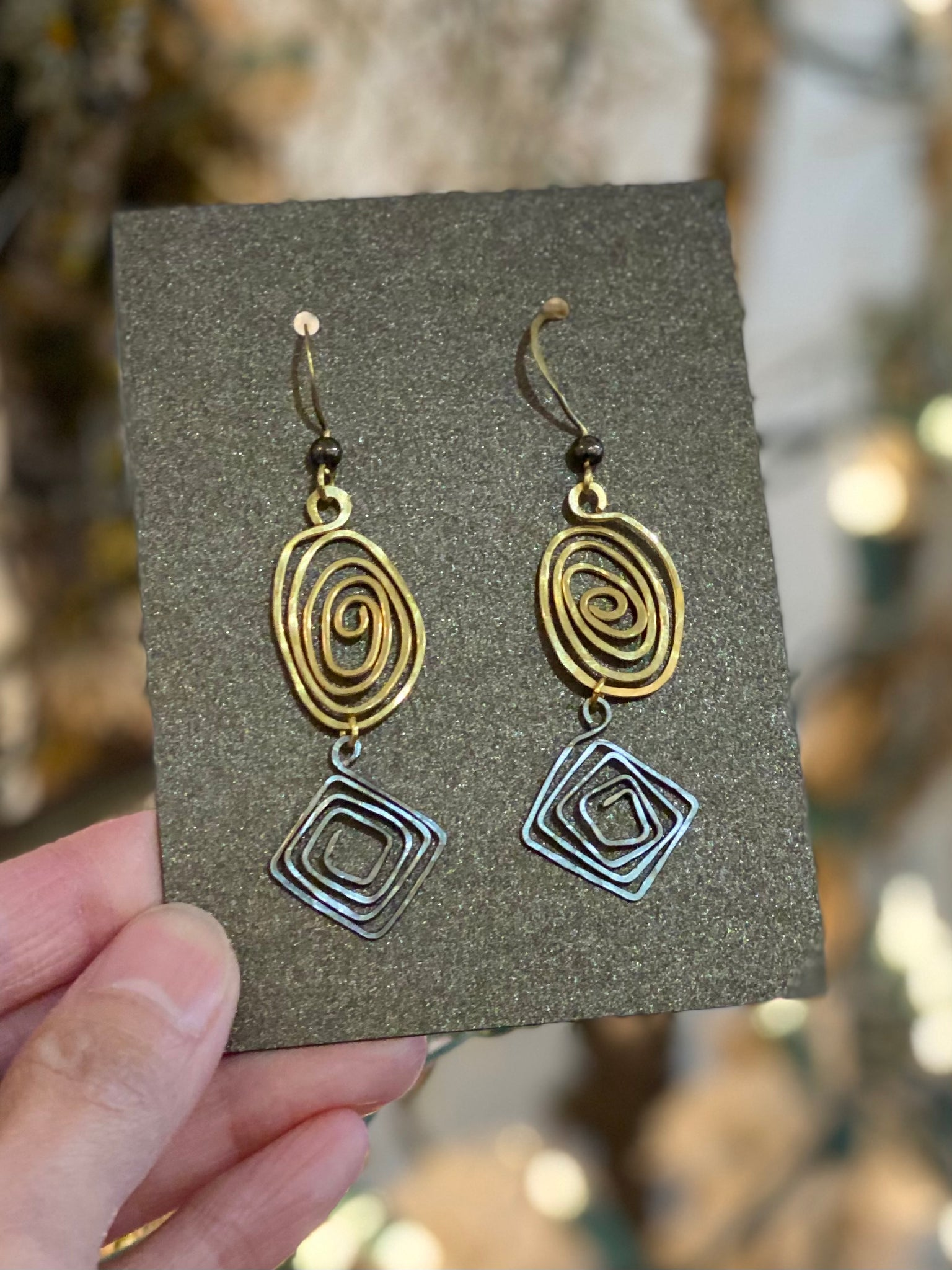 Two Tone Hand Curl Long Earrings Made in PDX