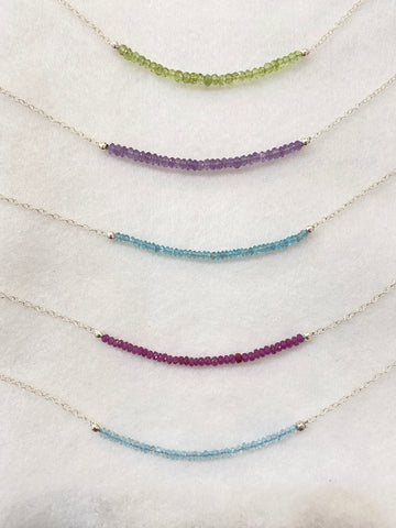 Preciously Gem Bead Necklace on Sterling Silver Hand Crafted in PDX