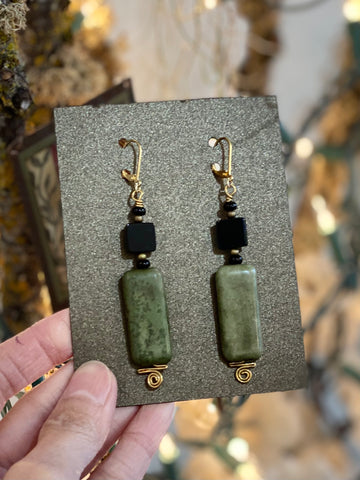 Hand Wrapped Onxy and Jade Stone Long Earrings Made in PDX