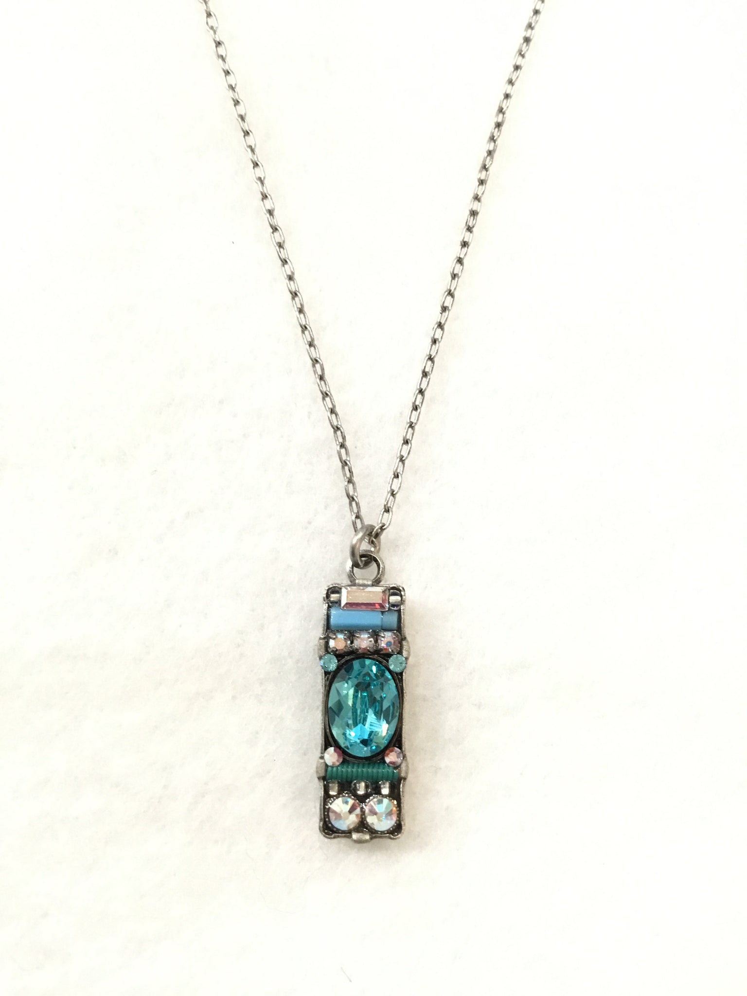 Bar Rectangle Mosaic Crystal Necklace