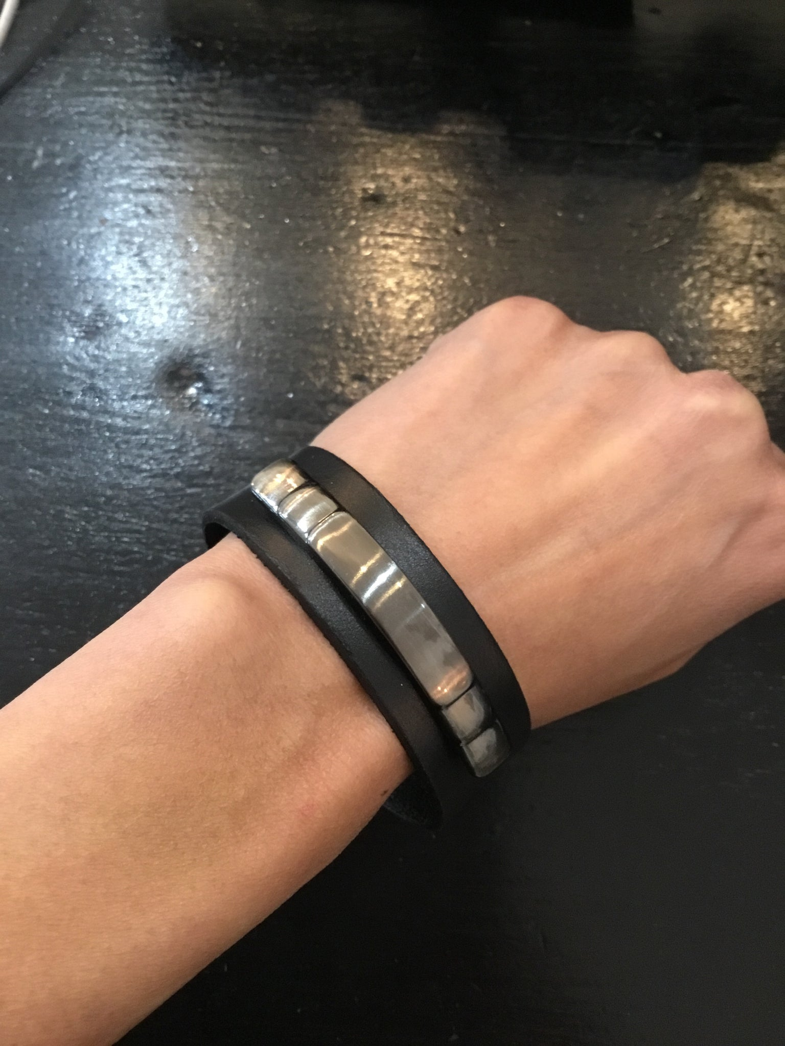 Handmade leather bracelet with metal accents