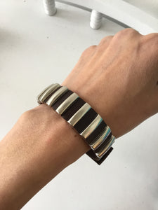 Handmade leather bracelet with studs metal accent