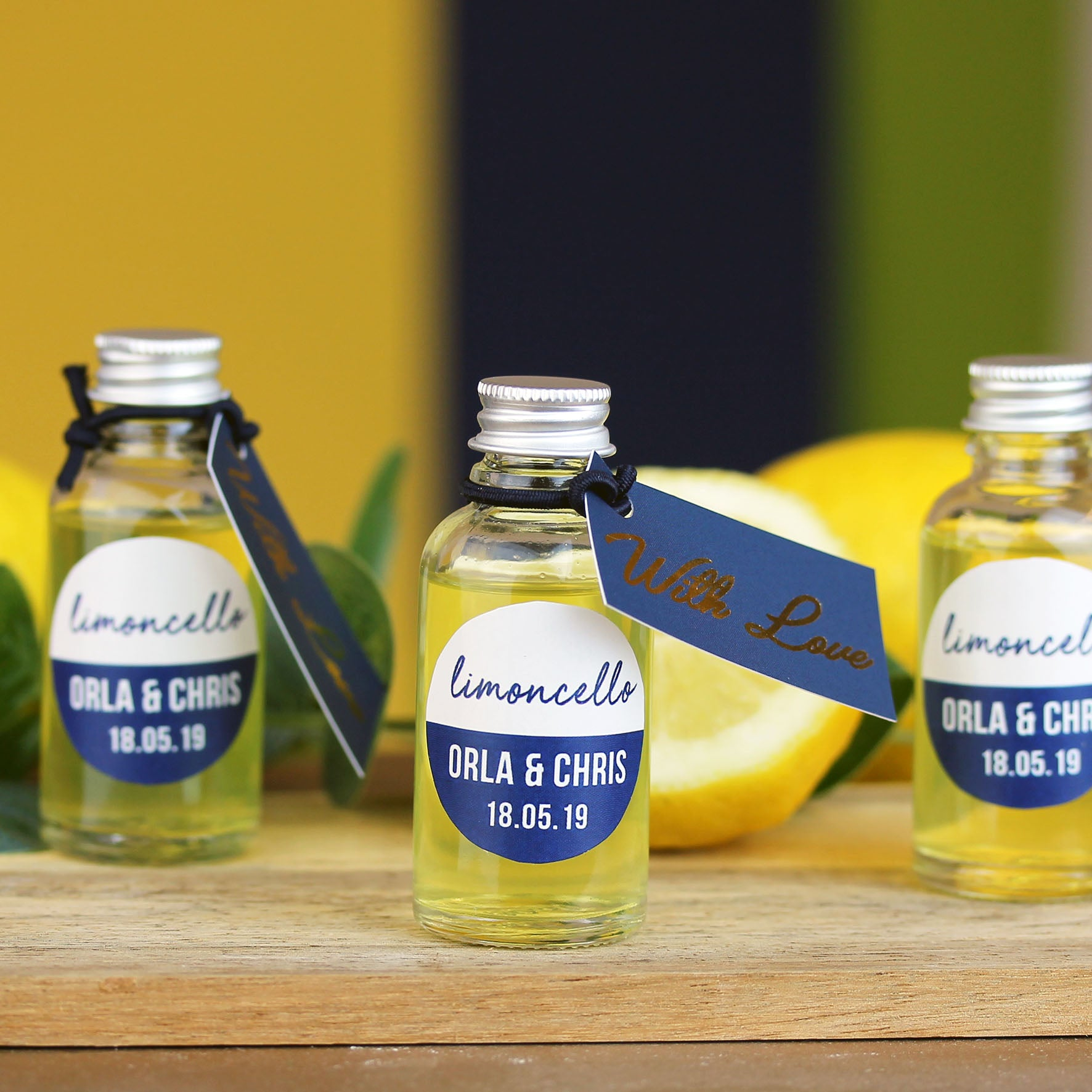 Limoncello Personalised Wedding Favours In Glass Bottles Hearth