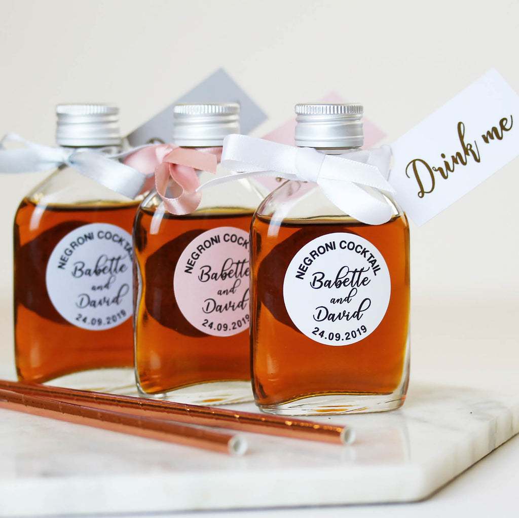 Personalised Cocktail bottles to fill DIY for Wedding Favours