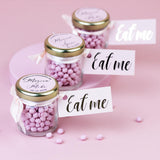Personalised Strawberry Sweets In Jars For Wedding Favours