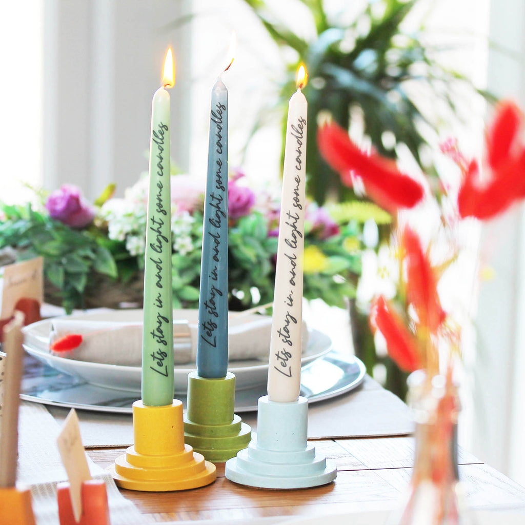 Printed tapered dinner candles in 3 colours