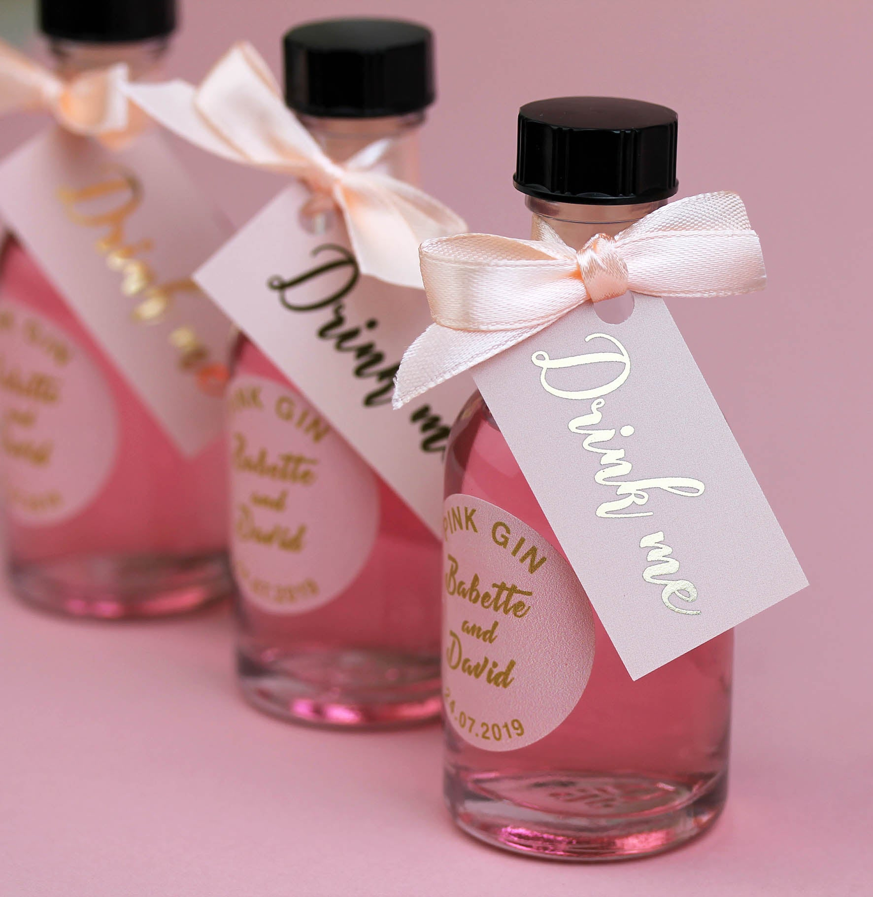 Personalised Pink Gin Filled Miniature Bottles For Wedding Favours ...