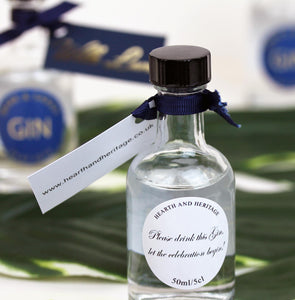 Miniature Gin Wedding Favours in Navy and Gold
