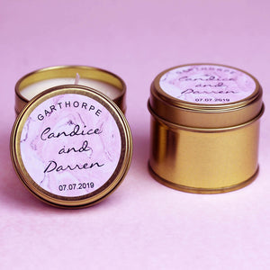 Personalised Wedding Favours Scented Candles in Gold or Silver tins