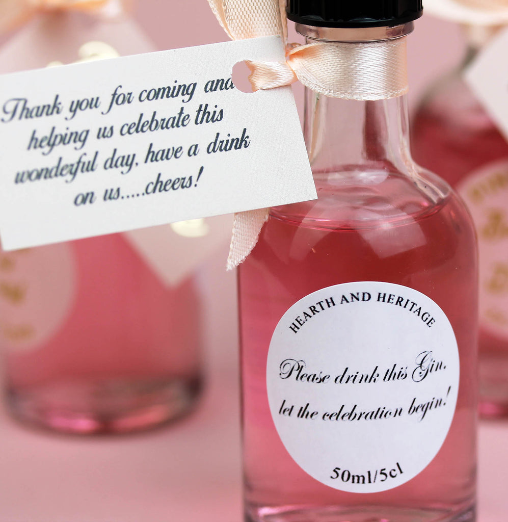 Personalised Pink Gin Filled Miniature Bottles For Wedding Favours
