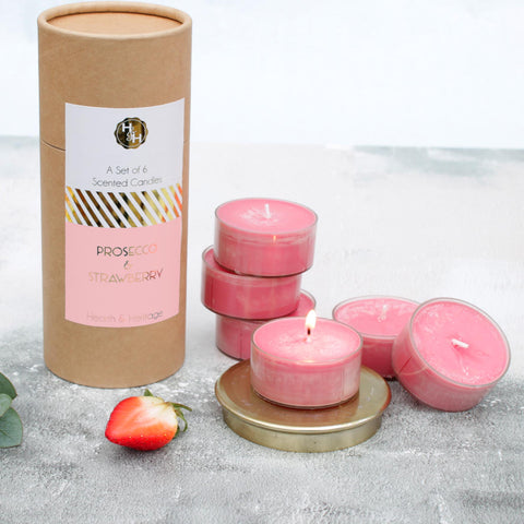Prosecco & Strawberry Scented Candles in Tube Gift Box (W)
