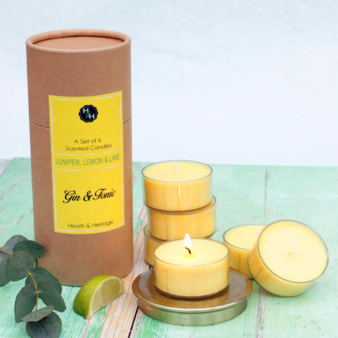 A set of 6 Gin & Tonic Candles in a Tube Gift Box