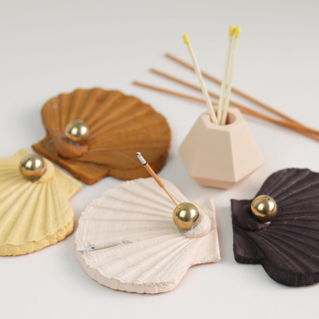 Scallop Shaped Incense Holder Cast in Jesmonite
