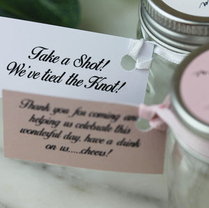 Personalised Shot Jars with Pink Gin or Limoncello For Wedding Favours