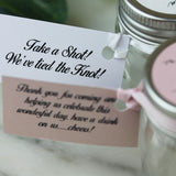 Personalised Shot Jars empty for you to fill for Wedding Favours