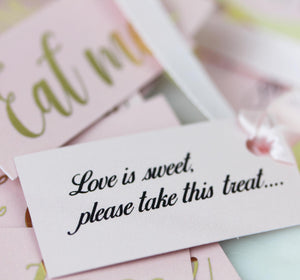 DIY Wedding Favour Labels, personalised in Pink and Gold.