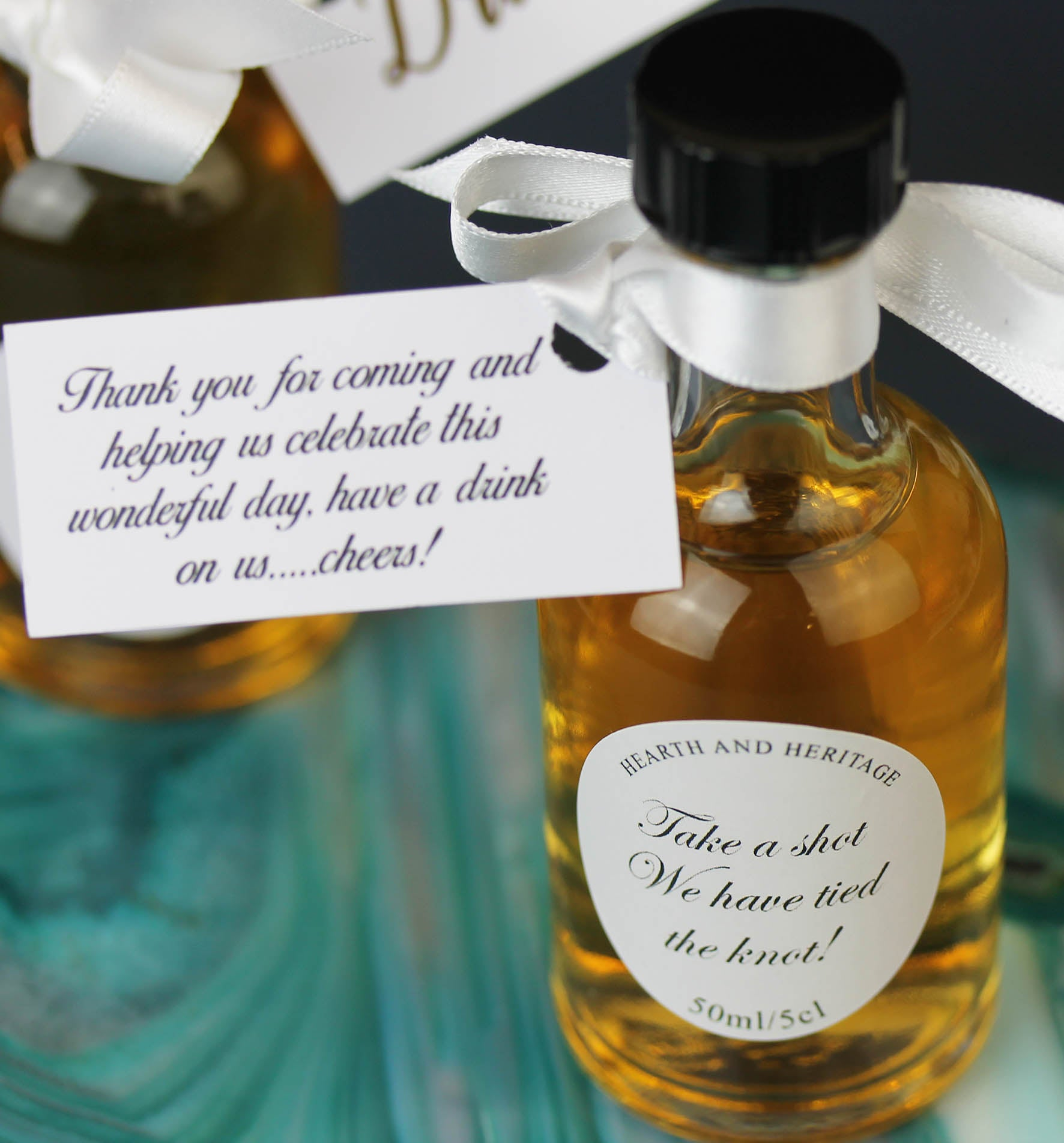 Personalised Whisky Wedding Favours in White and Gold.