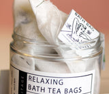 Bath Tea-Bags filled with Epsom Salts and Botanicals.