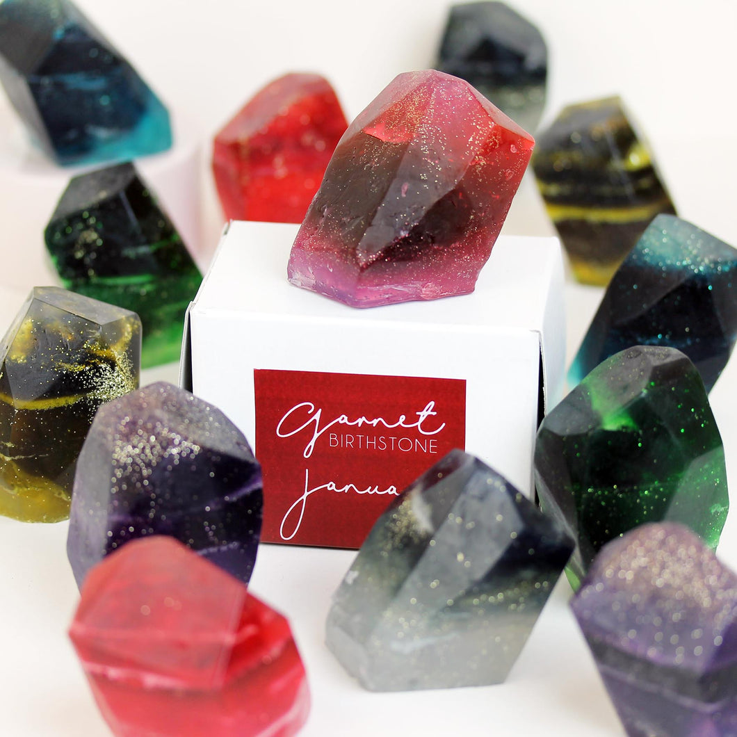 Handcrafted Birthstone Soap in 12 Colours.