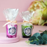 Personalised Wedding Favour Candles in Pink or Green Glasses