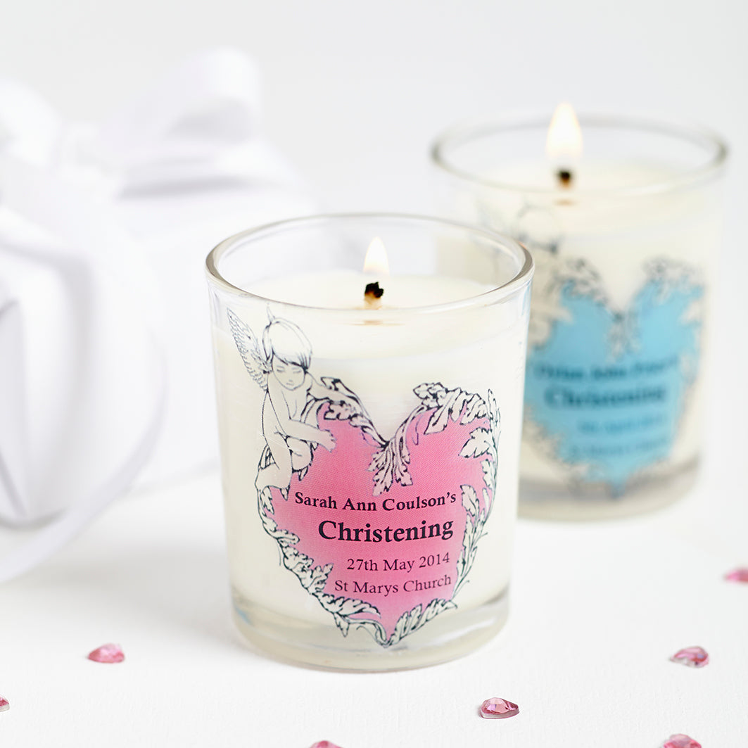 christening personalised candles minimum order 10 hearth and heritage