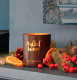 Mulled Wine Scented Candle in Purple and Gold Glass (w)