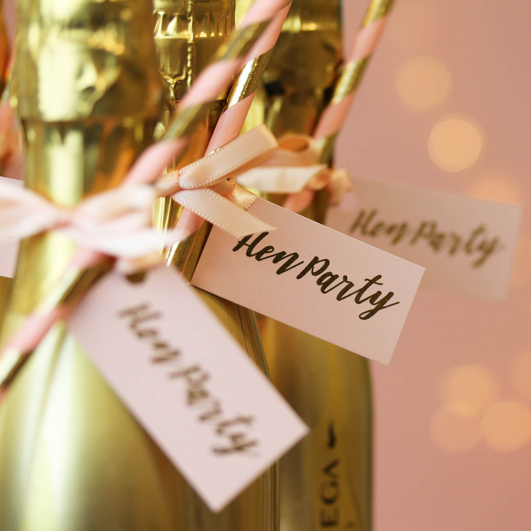 Hen Party Decorated Gold Prosecco Bottle