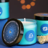 Zodiac Scented Candle in Blue Coloured Glass Jar, 12 Scents.