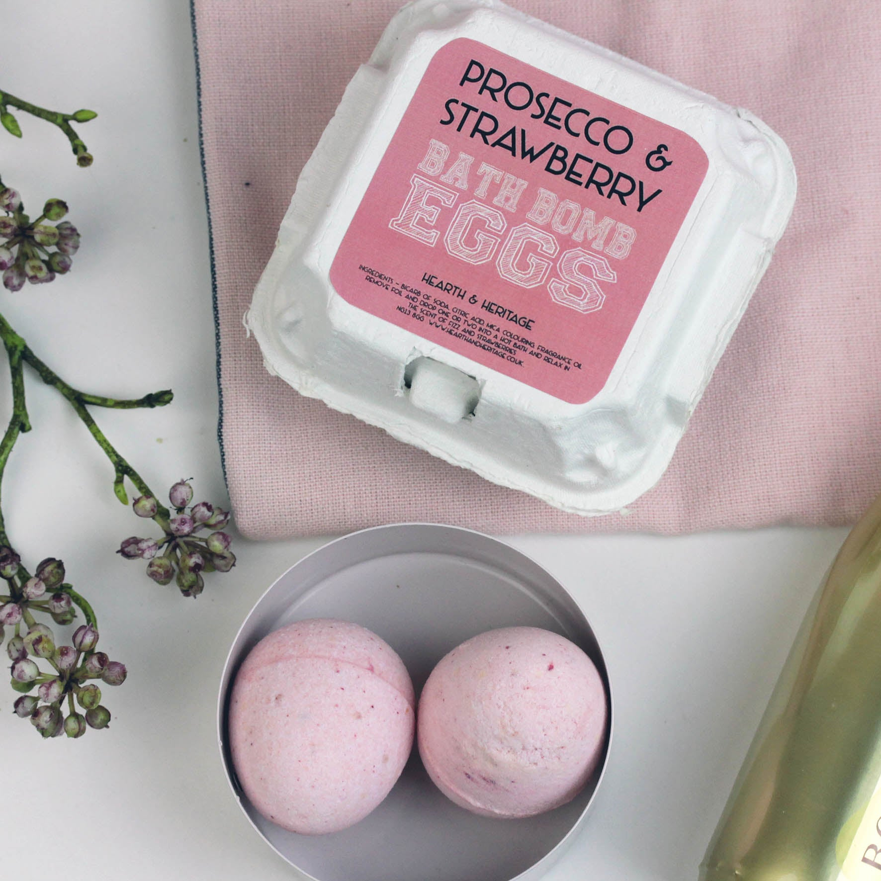 Prosecco Easter Egg Bath Bombs in Egg Box (w)